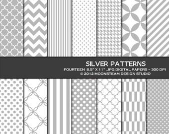 Gray digital papers, gray digital backgrounds, gray digital scrapbook papers