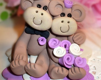 Wedding Cake, topper, monkey bride and groom, Purple and white flowers, cake topper, your choice of colors, custom design