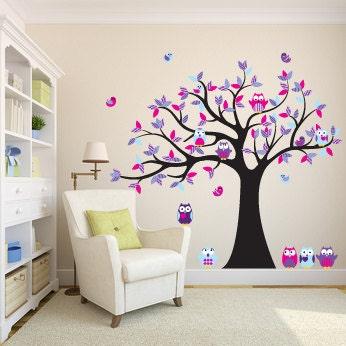 Kinder wandtattoos f r den kindergarten vinyl aufkleber baum - Wandtattoo eulenbaum ...