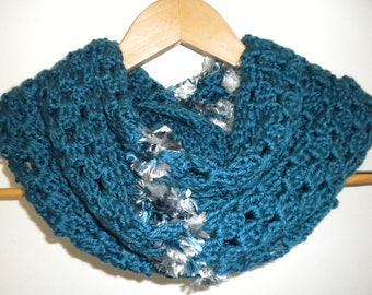 Crochet Blue Scarf Handmade Crochet  Ocean Blue, Blue/Grey Winter Fall