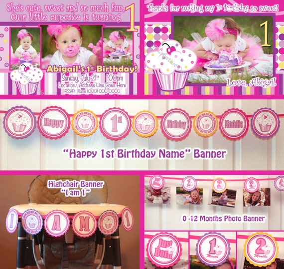 Lil Cupcake Banner 1st Birthday Party Package 1 Year Birthday