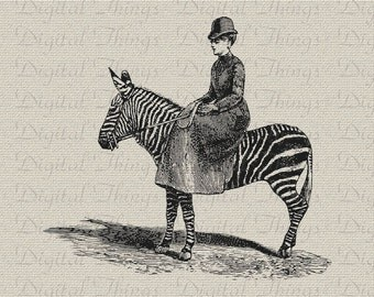 Zebra Edwardian Clothing Fashion Wall Decor Art Printable Digital Download for Iron on Transfer Fabric Pillows Tea Towels DT1311