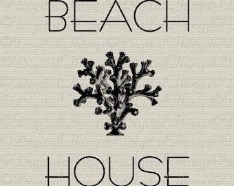 Beach House Decor Coral Shell Seashore Ocean Art Printable Digital Download for Fabric Iron on Transfer Fabric Pillow Tea Towel DT1102