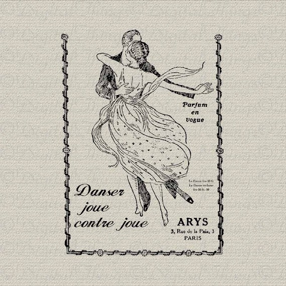 French Script Perfume Ad Dancing Valentines Day French Decor Printable Digital Download for Iron on Transfer to Tote Pillow Tea Towel DT625