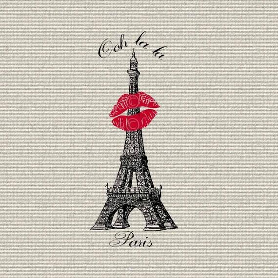 Eiffel tower iron wall decor : French script paris eiffel tower lipstick kiss wall decor