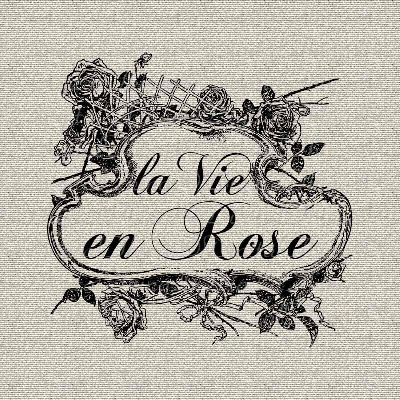 French Script Words La Vie En Rose Wall Decor Art Printable