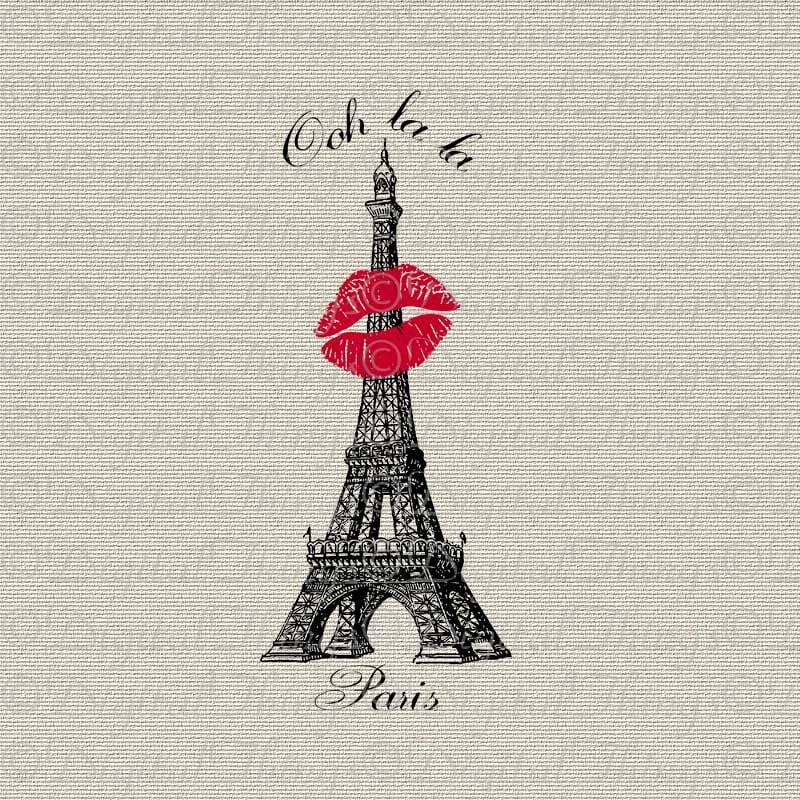Eiffel Tower Wall Decor french script paris eiffel tower lipstick kiss wall decor