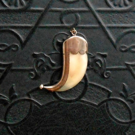 Antique Tiger Claw Pendant 9ct Gold Late Victorian