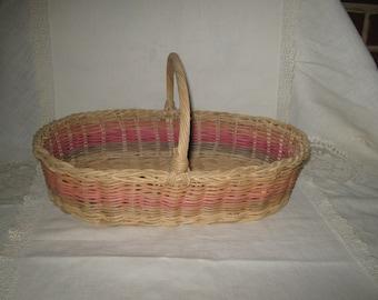Pastel Woven Wicker Basket