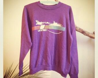 Vintage 70s United Airlines Sweatshirt Purple Jumper