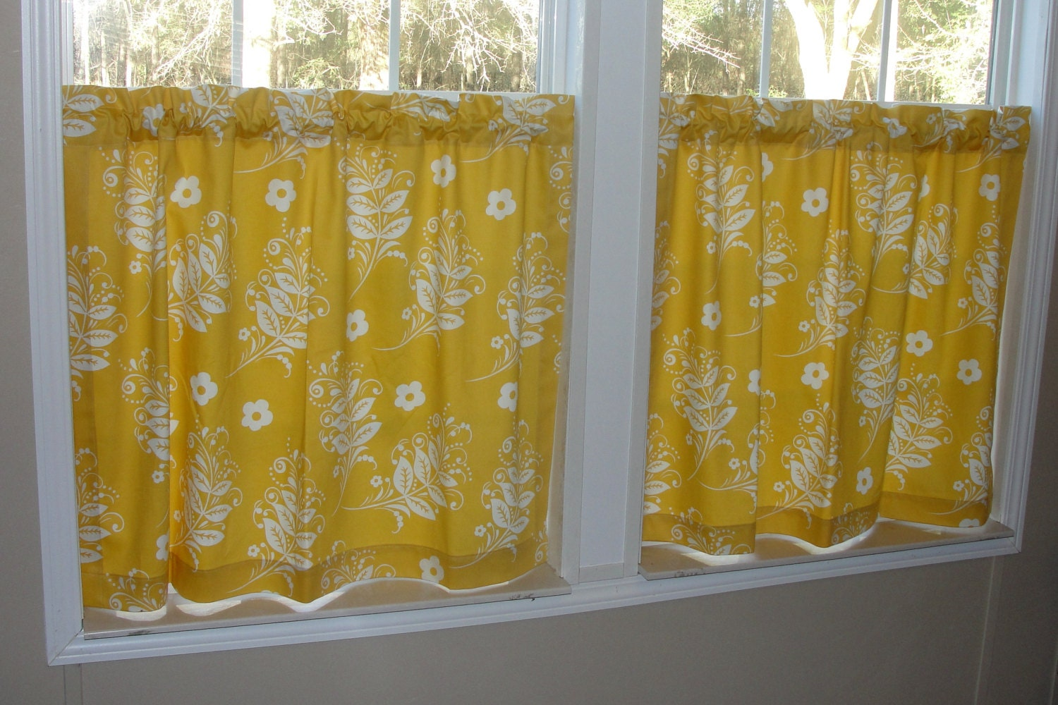 Golden Branches Cafe Curtains 80 Wide X 30 Long By
