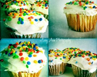 Confetti Cupcakes Photo set Bright Sprinkles colorful kitchen decor Set Four treats