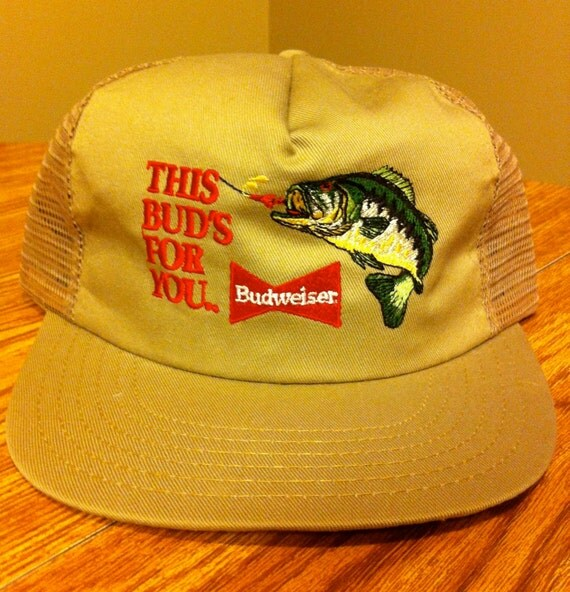 Budweiser beer bass fishing vintage trucker by for Bass fishing hats