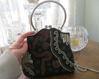 Retro Paisley Glass Beaded Purse Metal Hoop Handle/ Chain, Vintage Handbag, Day Wear/Evening Wear