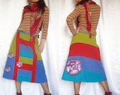 Custom order Skirt  Patchwork  Autumn Winter Spring Bright Colorful Multicolor Long skirt