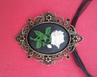 Handmade Pearly White Rose Cameo Pendant on a Ribbon Cord Necklace Gothic Steampunk Emo Punk