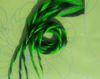 Green Black Clip in Zombie Dread Hair Extension 21 inches Long Hand Wefted Ready To Ship