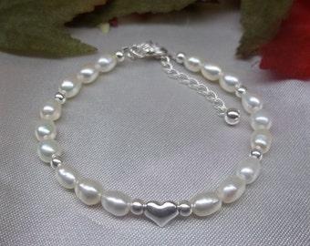Girls White Pearl Bracelet Baby Bracelet Pearl Bracelet Heart Bracelet Adjustable Bracelet 100% 925 Sterling Silver Bracelet BuyAny3+1Free