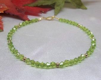 Green Ankle Bracelet Olive Green Ankle Bracelet Crystal Anklet 14k Gold Filled Ankle Bracelet Stamped Ankle Jewelry BuyAny3+Get1 Free