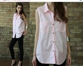 pastel pink shirt blouse // Bill Blass // sleeveless tank top tunic // vintage 90s // cotton // small medium Large