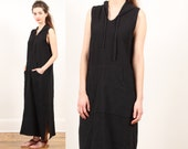 minimalist black dress // maxi // vintage 90s // avant garde minimal // hooded // waffle textured cotton // small medium