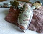 Earthy Green Spiderweb Jasper Pendant, Snakeskin Jasper, Rainforest Jasper and Hill Tribe Silver Artisan Necklace