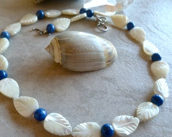 Delicate Mother of Pearl Carved Leaves with Lapis Lazuli Necklace - Unique Elegant Blue Necklace