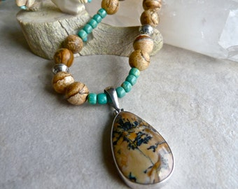 Picture Jasper in Sterling Silver Pendant, Natural Turquoise and Picture Jasper Necklace, Southwestern Artisan