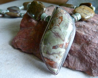 Earthy Green Spiderweb Jasper Pendant, Snakeskin Jasper, Rainforest Jasper and Hill Tribe Silver Artisan Necklace