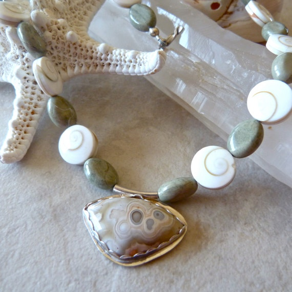 Creamy Crazy Lace Agate Artisan Pendant - Shiva Shell with Green Jasper One of a Kind Necklace