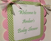 Baby Shower Welome Door Sign Pink and Green Polka Dot