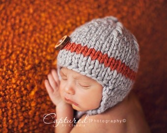 ready to ship gray brick baby  boy knitted hat, newborn photography prop, baby shower gift, baby photo prop, infant earflap beanie