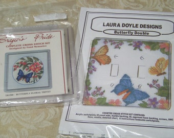 "Set of 2 Counted Cross Stitch Kits ""Butterfly Double"" Light Switch Plate and ""Butterfly Floral Trivet"""