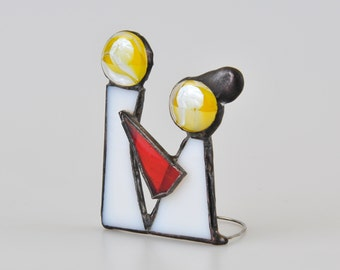 Couple gift - Miniature stained glass - Newlyweds - Little People Bridal couple