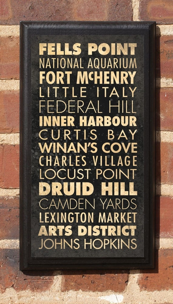 City of Baltimore Points of Subway Scroll Interest Vintage Style Wall Plaque / Sign
