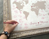 Wedding Guest Book Alternative, Wedding Centerpiece, Wedding Guest Book, Custom Map, World Map