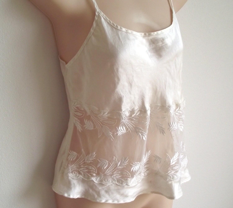 Vintage camisole silk slip bridal white ivory lace lingerie for White silk slip wedding dress