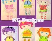 Ragdolls 1-6 Full Set Machine Applique Embroidery Designs - 5x7 & 6x8