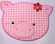Farm Friends For GIrls - Pig Face 01 Machine Applique Embroidery Design - 4x4, 5x7 & 6x8