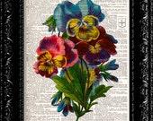 Vintage Flowers 6 - Vintage Dictionary Art Print Vintage Book Print Page Art Upcycled Vintage Book Art