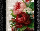 Vintage Flowers 12 - Vintage Dictionary Print Vintage Book Print Page Art Upcycled Vintage Book Art