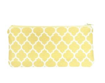 Quatrefoil zipper pouch - lemon yellow lattice