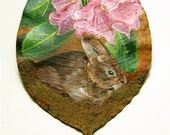 Brown Rabbit in Rhododendron Dried Leaf Painting
