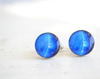 Blue planet cufflinks for men - Solar system inspired cuff links for him - Handcrafted in the USA  (PC101)