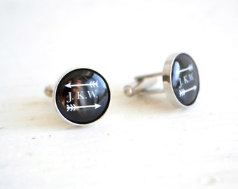 Monogram cufflinks with arrow accent and customization -  black and white heirloom jewelry for him made in the USA by White Truffle