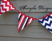 Patriotic Bunting Banner, Garland, Red White and Blue, 4th of July Decor