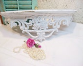Vintage Shabby Syroco  Wall Shelf Bed Crown Distressed White