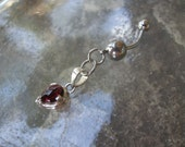 Barbell Belly Jewelry   Belly Button Ring in Sterling Silver & Red Garnet - Unique Artisan Body Jewelry
