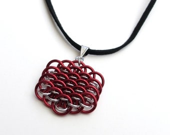 Red chainmail Dragonscale pendant necklace