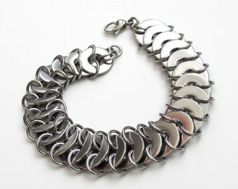 Stainless steel chainmail bracelet, washer chainmaille, men's jewelry